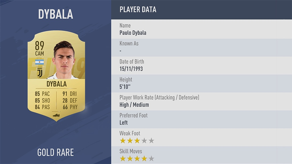 PAULO DYBALA в рейтинге FIFA 19 ТОП 100