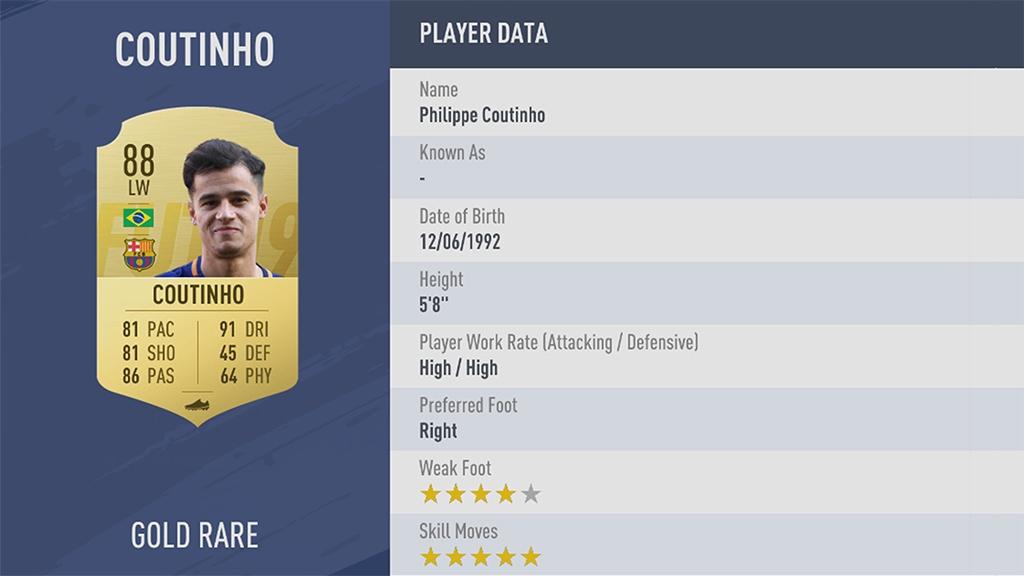 COUTINHO в рейтинге FIFA 19 ТОП 100