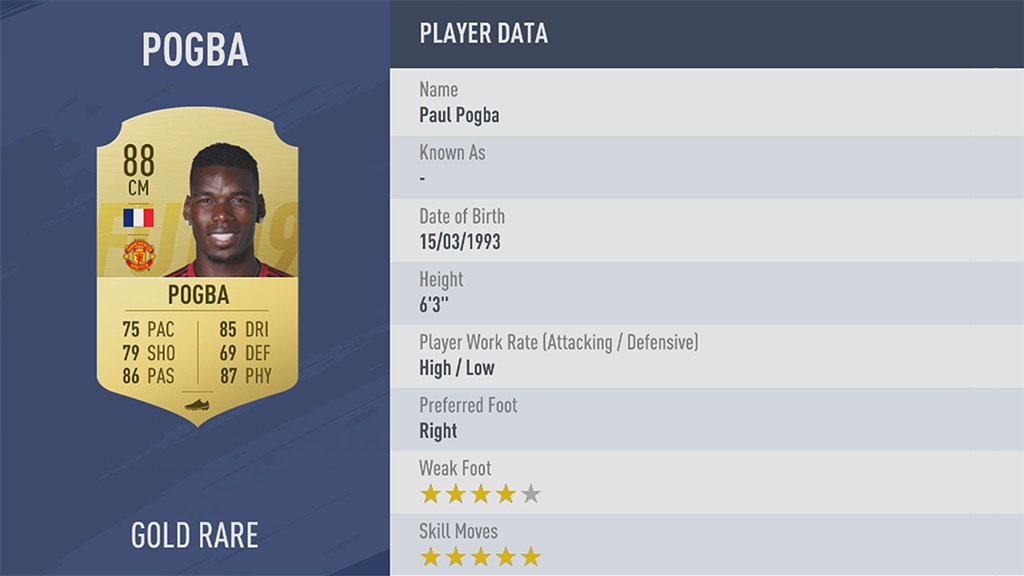 PAUL POGBA в рейтинге FIFA 19 ТОП 100