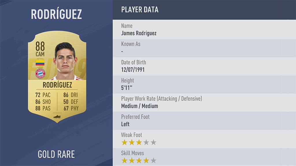 JAMES RODRÍGUEZ в рейтинге FIFA 19 ТОП 100