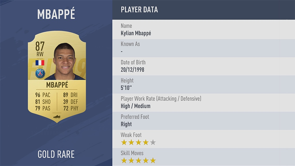 КИЛИАН МБАППЕ в рейтинге FIFA 19 ТОП 100