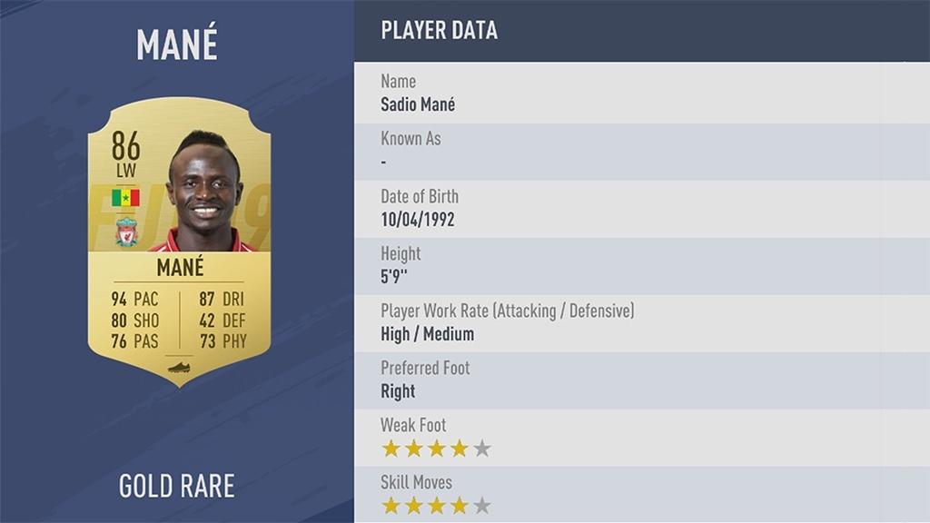 САДИО МАНЕ в рейтинге FIFA 19 ТОП 100