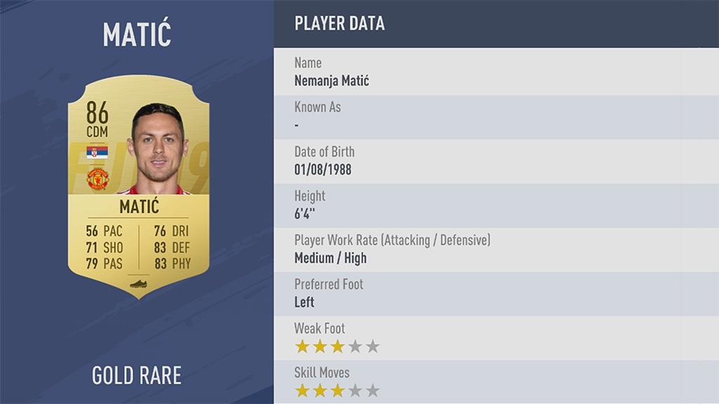 НЕМАНЬЯ МАТИЧ в рейтинге FIFA 19 ТОП 100