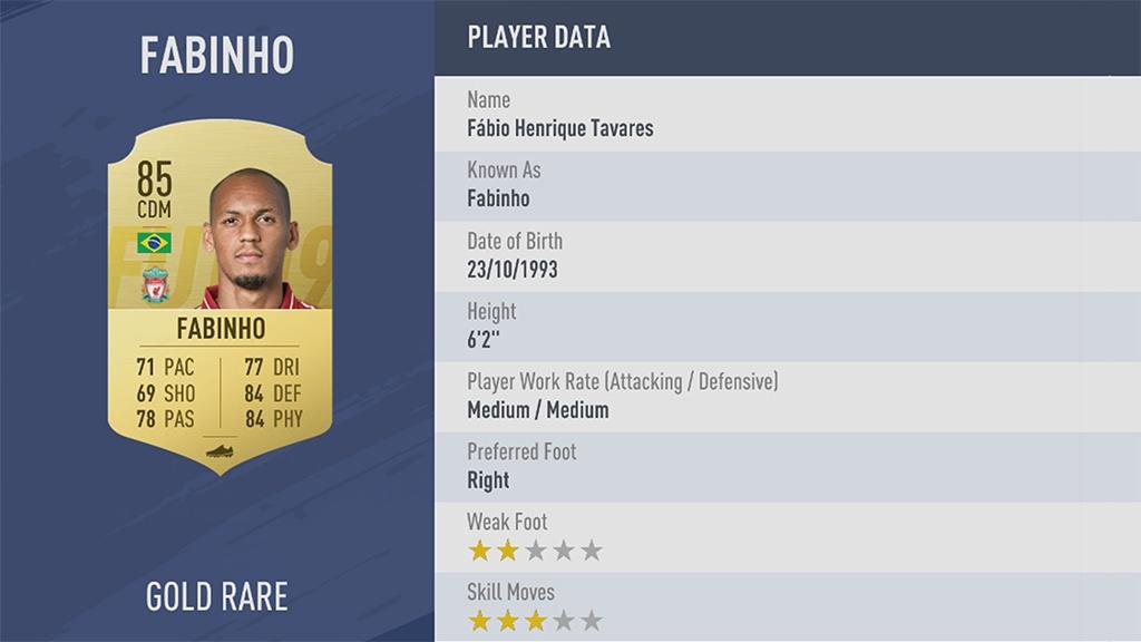 ФАБИНЬО в рейтинге FIFA 19 ТОП 100