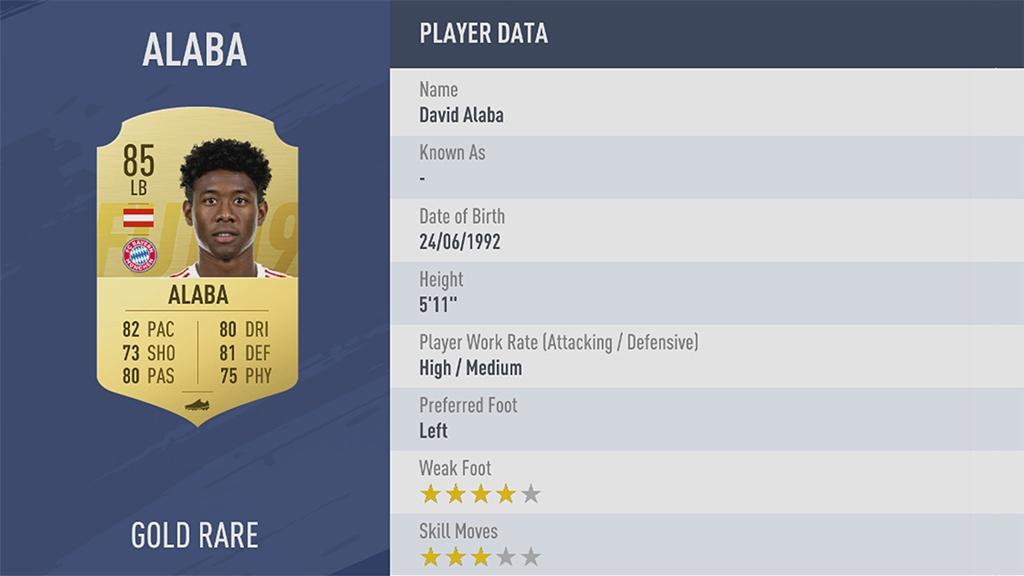 ДАВИД АЛАБА в рейтинге FIFA 19 ТОП 100