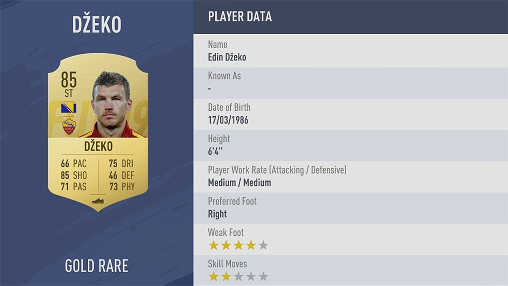ЭДИН ДЖЕКО в рейтинге FIFA 19 ТОП 100