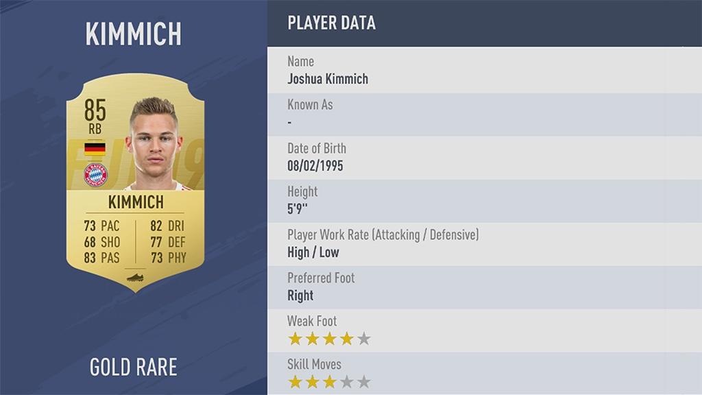 ЙОЗУА КИММИХ в рейтинге FIFA 19 ТОП 100