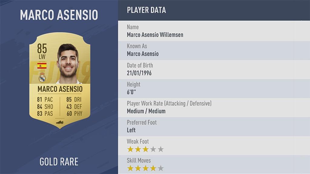 МАРКО АСЕНСИО в рейтинге FIFA 19 ТОП 100