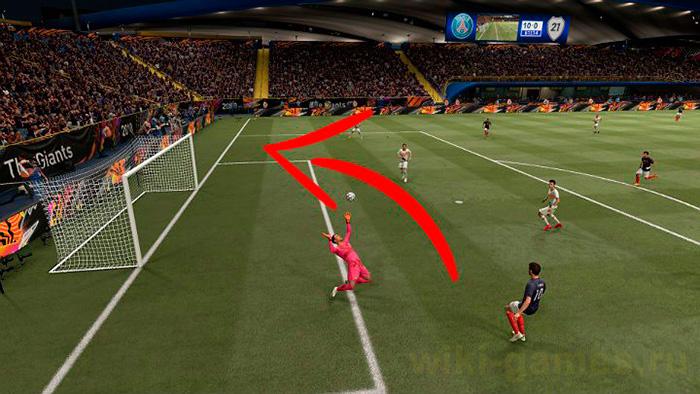 Как правильно бить по воротам в FIFA 20